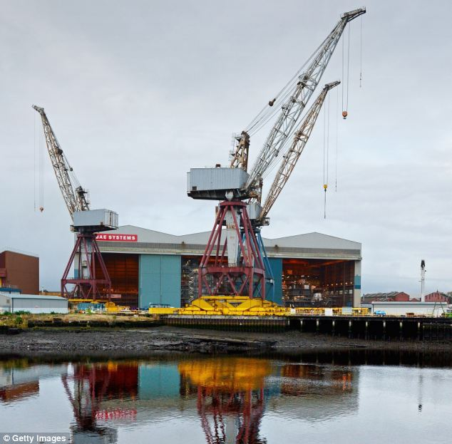 Job losses: Another 835 jobs will be lost at yards in Govan (pictured) and Scotstoun on the Clyde in Glasgow, at Rosyth in Fife and at the firm¿s Filton office near Bristol