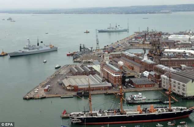 End of an era: Warships will no longer be built at Portsmouth pictured - an announcement that has seen ministers accused of trying to placate Scottish voters ahead of next year's independence referendum