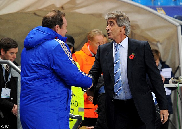 Delight: Manuel Pellegrini was pleased with Manchester City's performance in the clash against CSKA Moscow