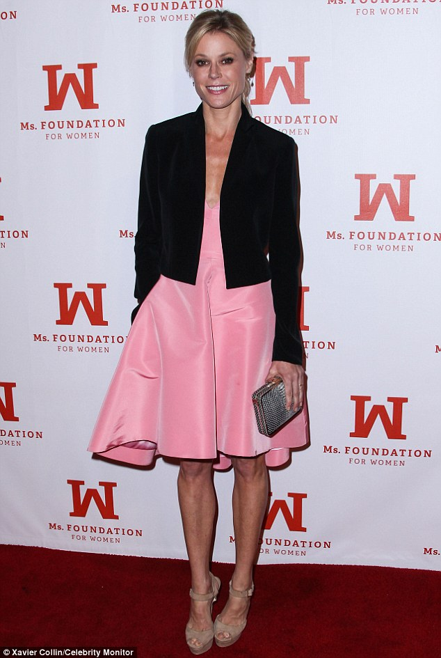 Modern Woman: Modern Family star Julie Bowen was stunning in her bubblegum pink silk chiffon gown, which she teamed with beige strappy peep-toes and a cropped black blazer