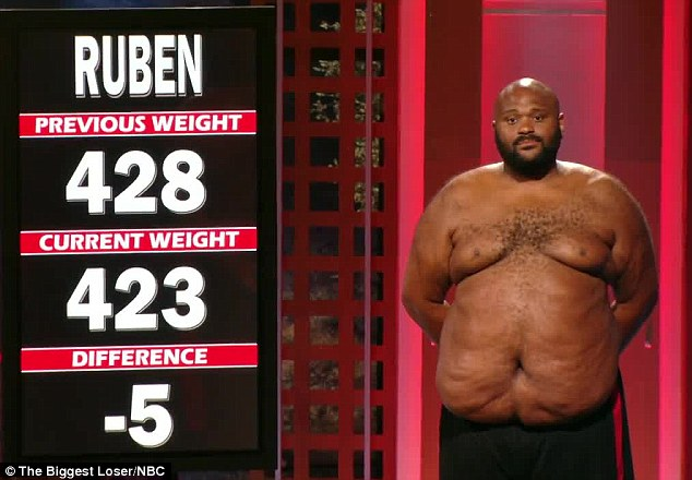 Not enough: The much-loved contestant was eliminated after he only dropped five of the 11 pounds required to save his red team for the week