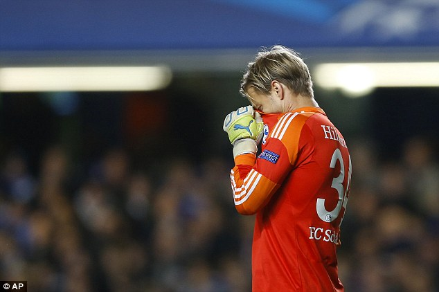 Shocker: Hildebrand hides his face after gifting Chelsea their opening goal