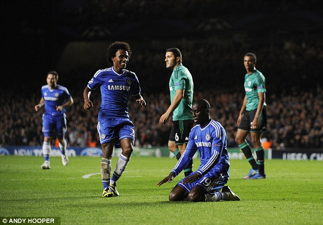 Instant impact: Ba celebrates his goal just six minutes after coming off the bench