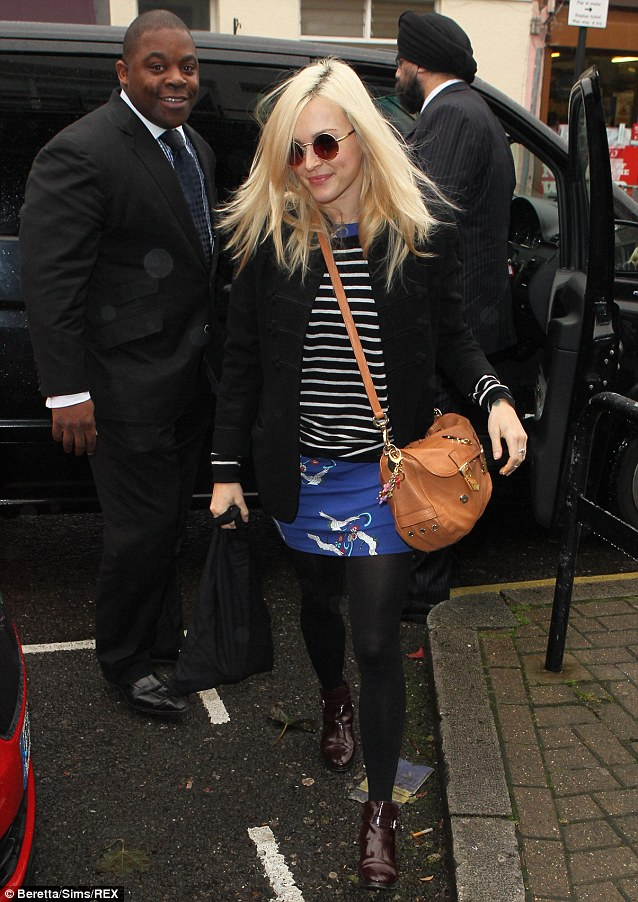 Captain chic: Fearne Cotton arrives to film Celebrity Juice wearing a striped jumper over an embroidered blue dress