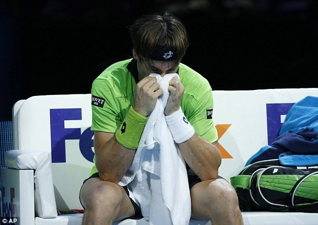 Toll taken: Ferrer has reached the final in his past three tournaments, but cannot make it through in London