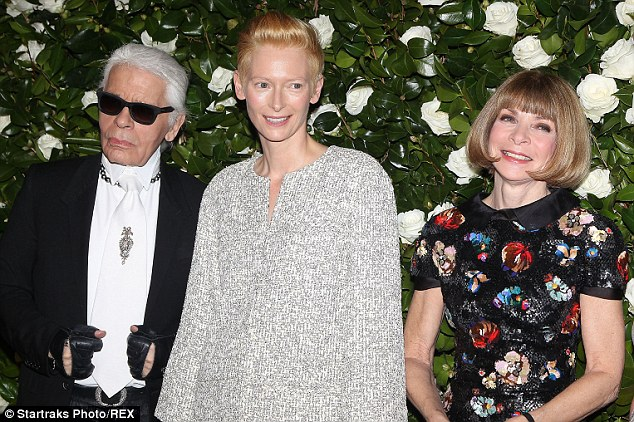 Power trio: Karl Lagerfeld, Tilda Swinton and Anna Wintour pose for photographers at the NYC event