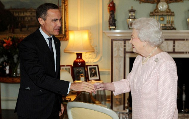 Hello ma'am: Governor of the Bank of England Mark Carney had an audience with the Queen at Buckingham Palace yesterday