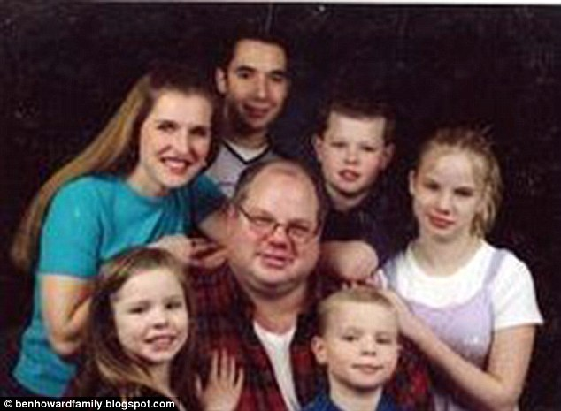 Family torn apart: The June 28, 2007, accident in Utah killed Janine Howard (back far left), 7-year-old Esther (front left), and 11-year-old Matthew, pictured in front of their father, Ben