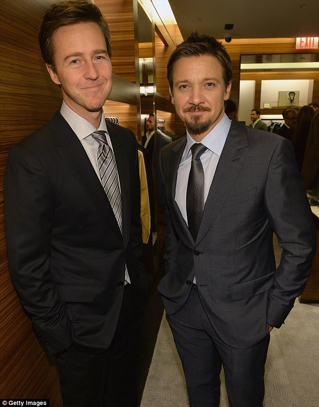 The Incredible Hulk and his sidekick: Ed Norton seemed to enjoy catching up with Avenger Jeremy Renner