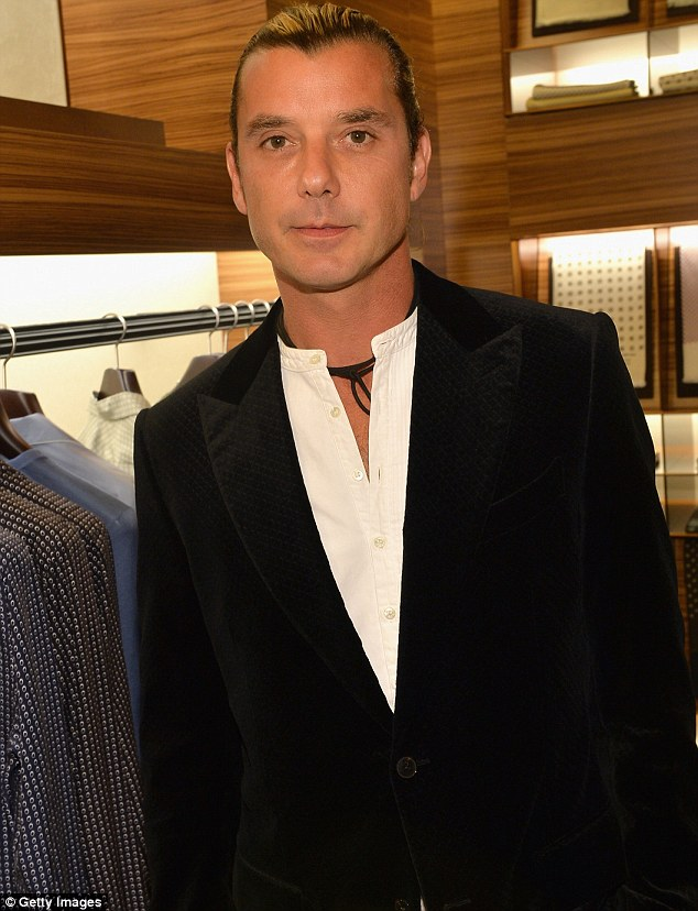 Man's man: Gavin Rossdale seemed excited to be having a boys night out at a clothes shop opening in Beverly Hills on Thursday