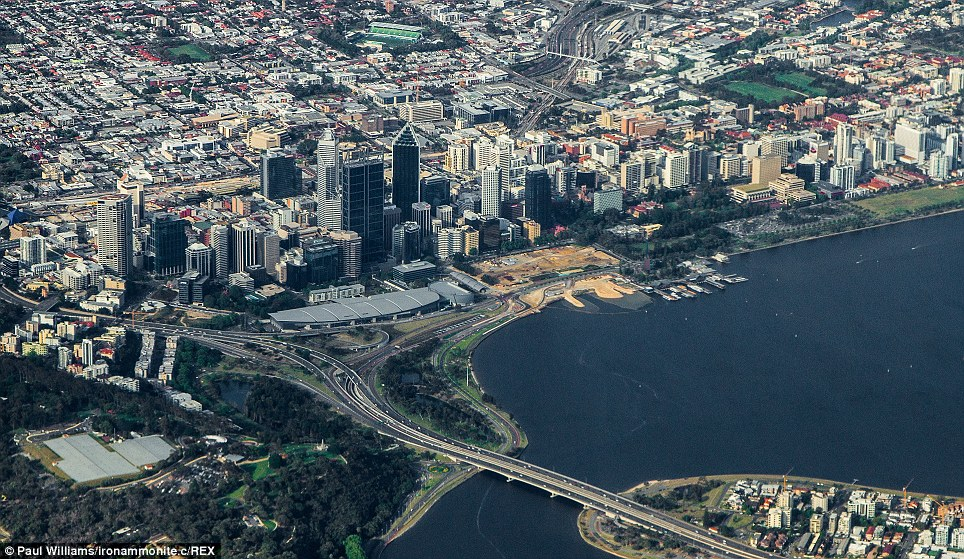 Mr Williams took this aerial image of downtown Perth and the Swan River while aboard a commercial flight