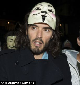Russell Brand at the Million Mask AMrch this week: Just the sort of empty, meaningless, politically bankrupt event that would be right up his pretentious boulevard