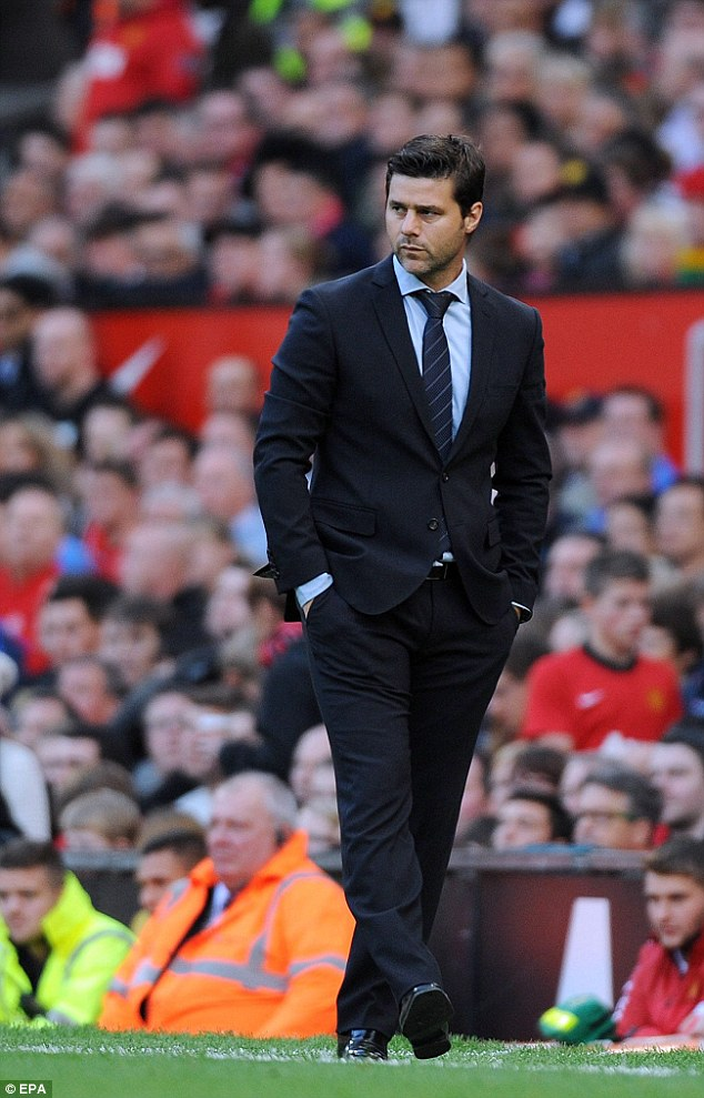 Cock of the walk: Maurico Pochettino prowls the touchline during Southampton's draw with Manchester United