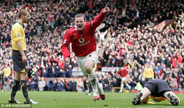 Back to haunt: Rooney runs off to celebrate scoring against the Gunners at Old Trafford in 2004