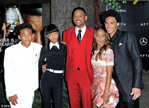 Will and Jade have two children, Jaden and Willow, seen here with Will's son Trey (R) from a previous relationship in NYC in May