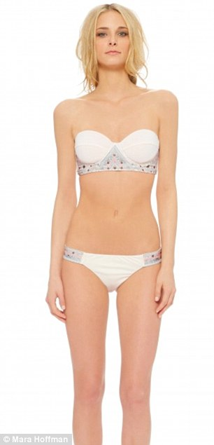 Priced at $308 for the beaded maillot (left) and $342 for the embroidered Bustier Bikini (right), the swimsuits were designed to be worn 'by the sea, barefoot in the desert or under a canopy in the forest'