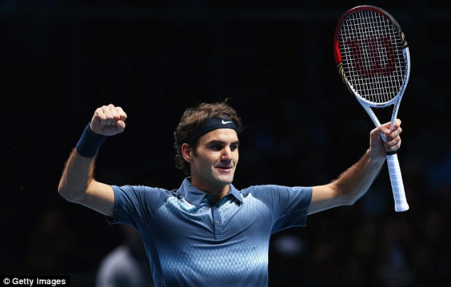 Delight: Roger Federer beat Juan Martin Del Potro in a three-set battle at London's O2 Arena