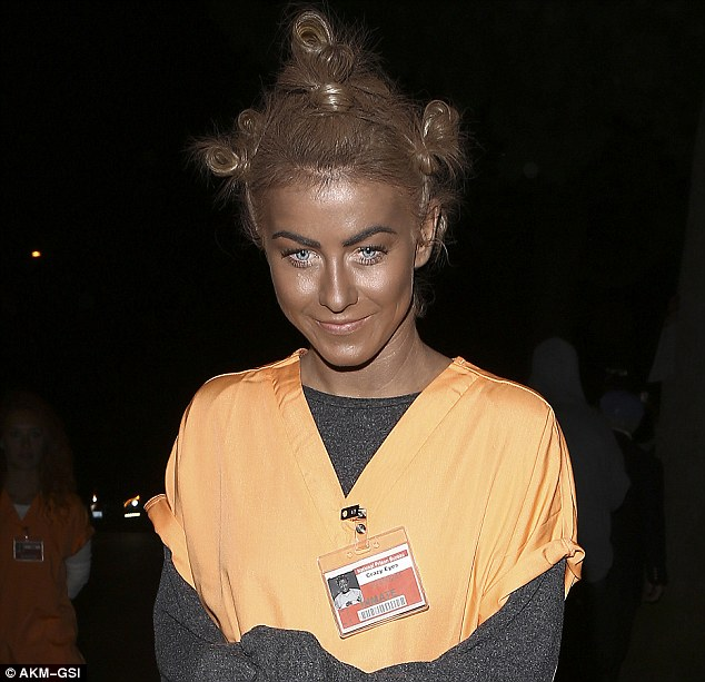 White is the new black: Julianne Hough darkened her face in an ill-advised Orange is the New Black Halloween costume