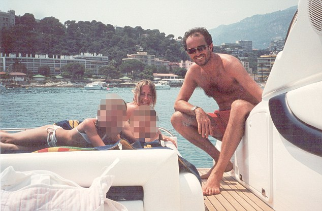 Together: Michelle, back left, is shown on holiday with her husband Scot Young in 2000. The pair were holidaying in the Mediterranean with their daughters Sasha and Scarlet