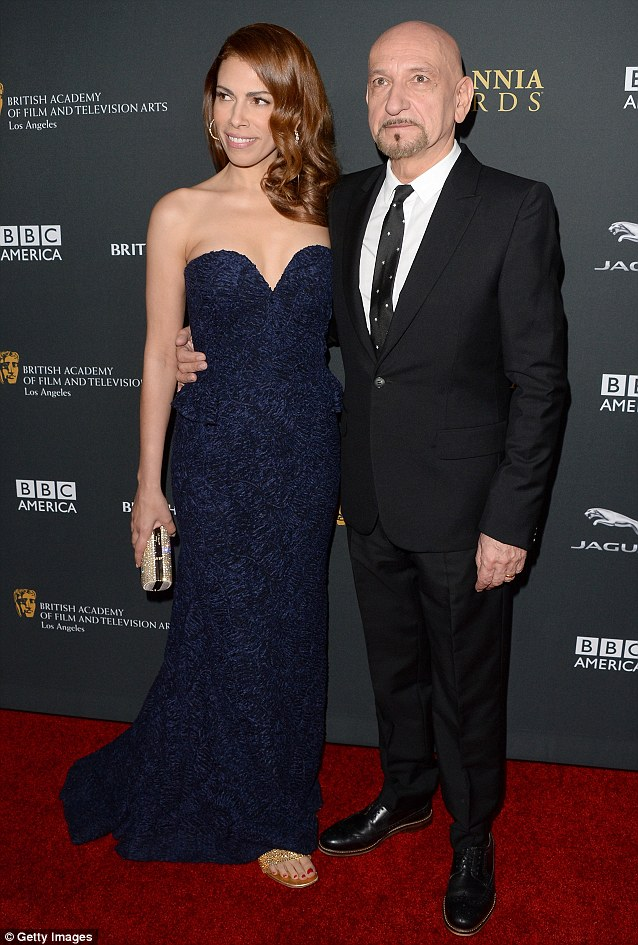 Veteran: Sir Ben Kingsley attended with his wife Daniela Lavender to collect his award for the Albert R. Broccoli Britannia Award for Worldwide Contribution to Entertainment