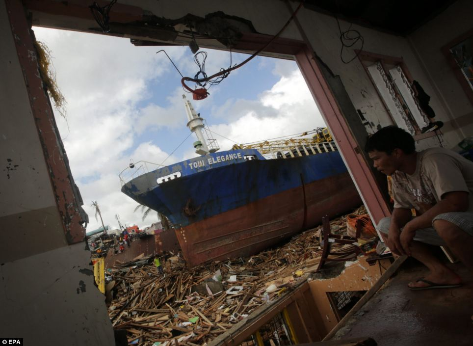 A ship was washed ashore in the huge storm. Surging sea water strewed debris for miles and survivors said the devastation was like a tsunami