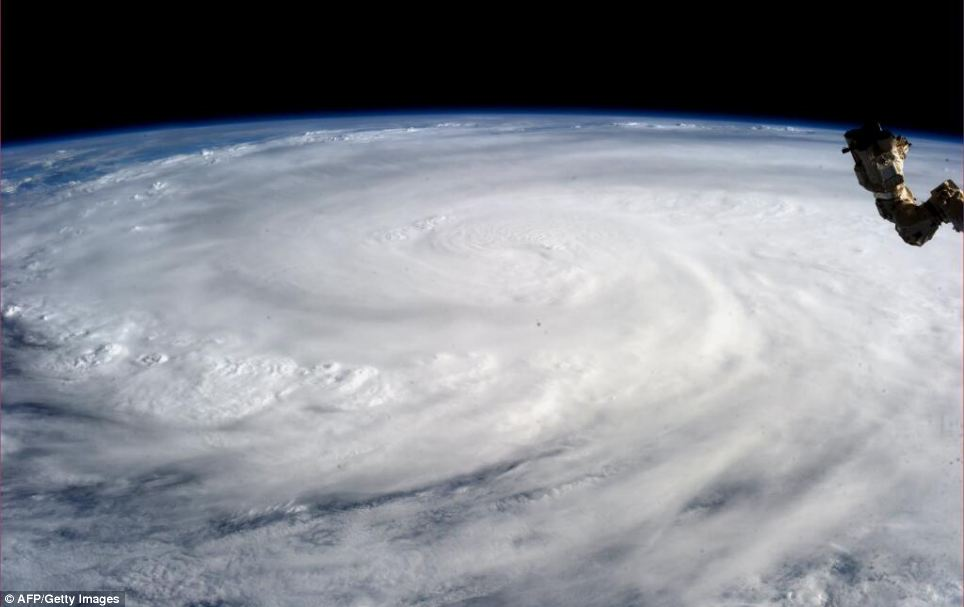 This image taken by astronaut Karen L. Nyberg and released by NASA shows Super Typhoon Haiyan from the International Space Station yesterday