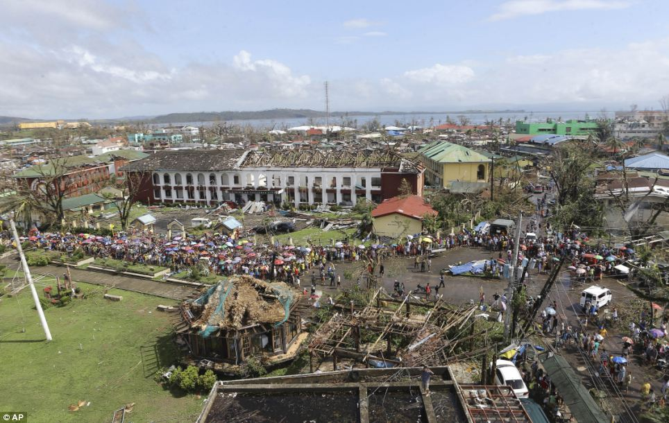 The Philippines president is considering introducing martial law in Tacloban city (pictured), where up to 10,000 people are feared dead, to enforce security after serious looting