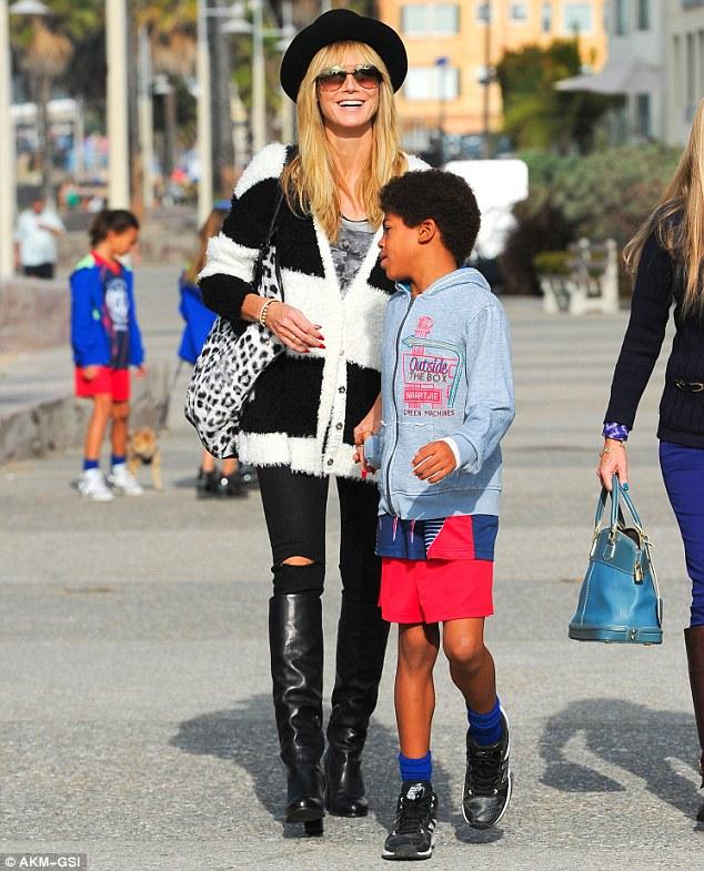 Brunch time: Heidi Klum, along with son Johan and boyfriend Martin Kristen, met friends for breakfast in Venice, California, on Sunday