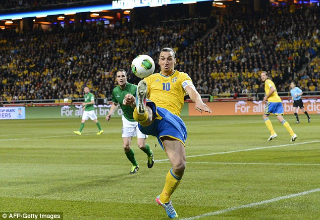 In control: Ibrahimovic's stamp collection is set for release just a few months before the start of the 2014 World Cup in Brazil