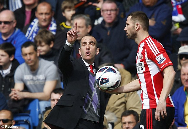 Bust up: Paolo Di Canio (left) vowed that Phil Bardsley would never play for him again