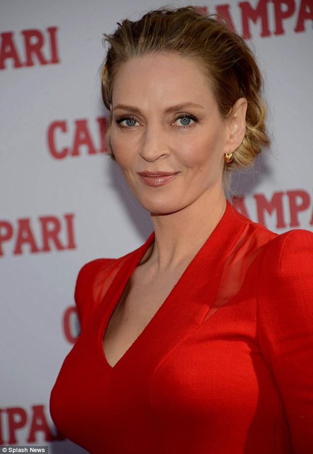 Who's that lady? Uma is uncannily beginning to resemble Sharon Stone in photos now, especially with her hair pulled back