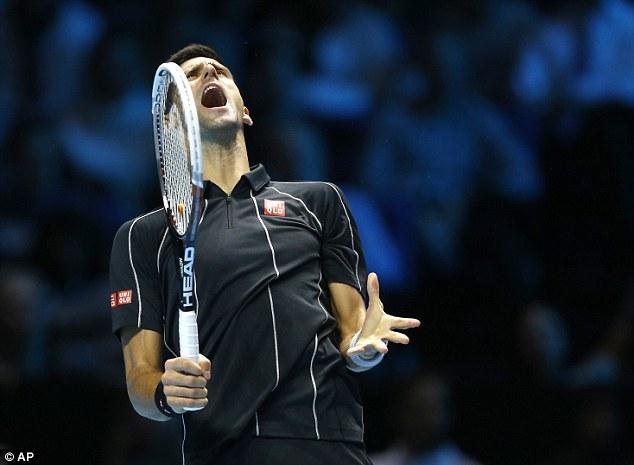 Frustrated figure: Djokovic shouts after making an unforced error