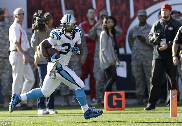 Decisive: DeAngelo Williams scored the only touchdown of the game as the Panthers beat the 49ers