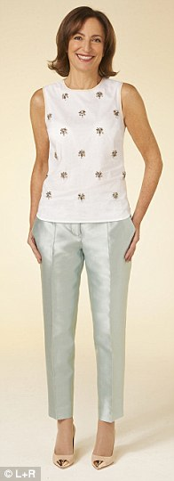 Top, £128, trousers, £288,  court shoes, £298