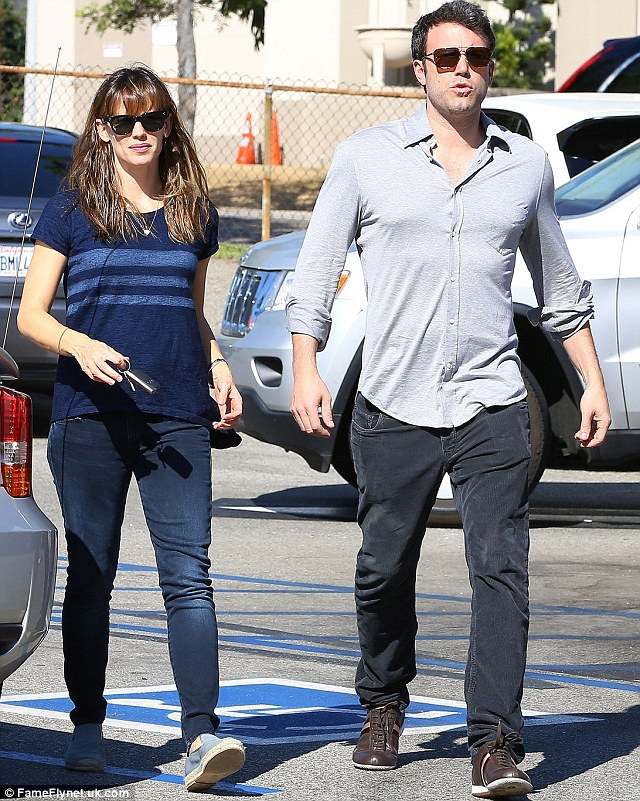One on one: Jen and Ben had a little time to themselves on Sunday as they were spotted sans children in the Pacific Palisades