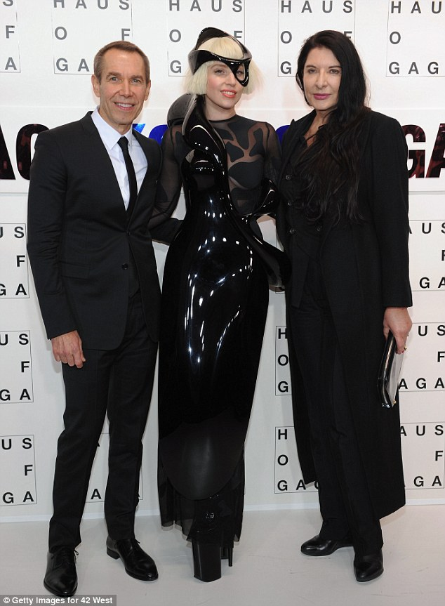 His work of art: Gaga posed with artist Jeff Koons and Marina Abramovic at the event in Brooklyn