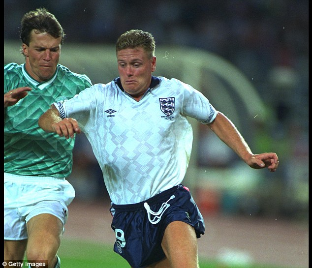 World class: Gascoigne (right) looked at home amongst the best players in the world. Lothar Matthaus (left) knew he was in a game when he faced Gazza at the World Cup in 1990
