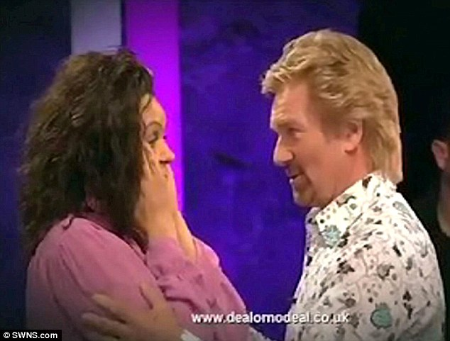 In shock: Caroline Banana speaks to Noel Edmonds after winnig £95,000 but soon afterwards she was taken to court on benefit fraud charges