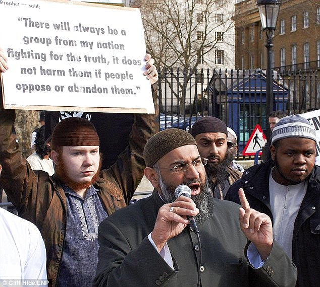 Radical: Horner, 19, is close to jihadist hate preacher Anjem Choudary, pictured during a demonstration
