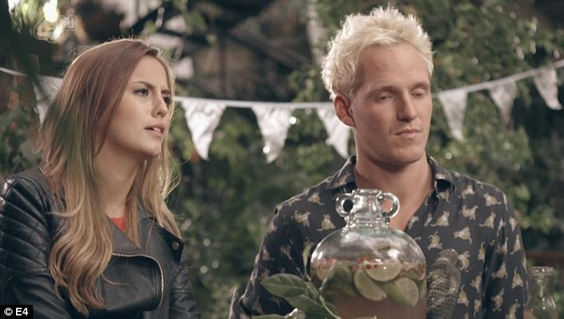 Awkward: Jamie Laing is stuck in the middle as his former love interests lock horns