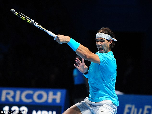 Pinpoint accuracy: Nadal guides a perfectly-placed forehand down the line
