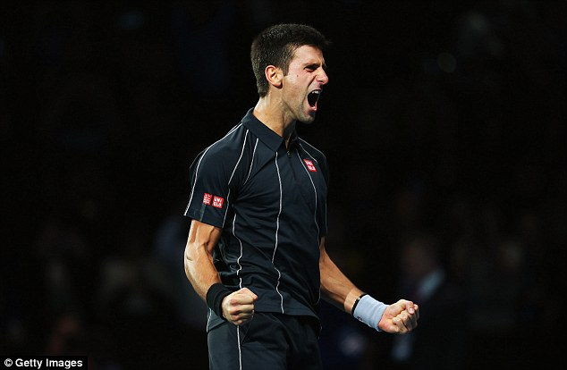 Pure passion: Djokovic shouts with delight after seeing off Nadal
