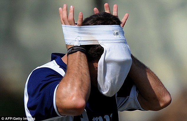 Clothing problems: In a separate incident, Netherlands cricketer Ryan Ten Doeschate put his jockstrap on his head