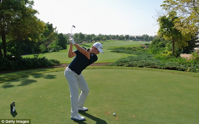 Tee shot: Rose plays on the 11th hole during the pro-am prior to the DP World Tour Championship