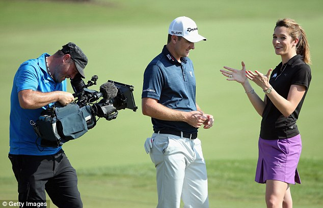 Big week ahead: The Englishman and TV presenter Cara Robinson chat together during the pro-am