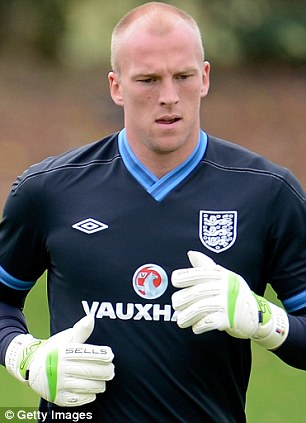 Goalkeeper of England John Ruddy during the Training session at London Colney