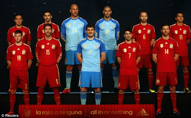 Line-up: (top row left-right) Santi Cazorla, Jesus Navas, Jose Manuel Reina, Victor Valdes, Andres Iniesta and Pedro Rodriguez. (bottom row left-right) Alberto Moreno, Sergio Ramos, Iker Casillas, David Villa and Xabi Alonso.