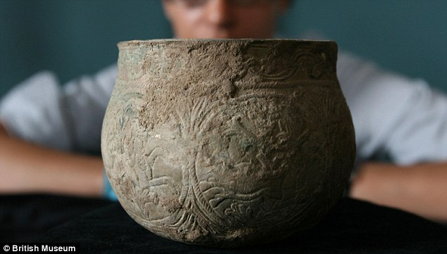 Intricate: This silver gilt pot, discovered near Harrogate, displays the Viking aptitude for design