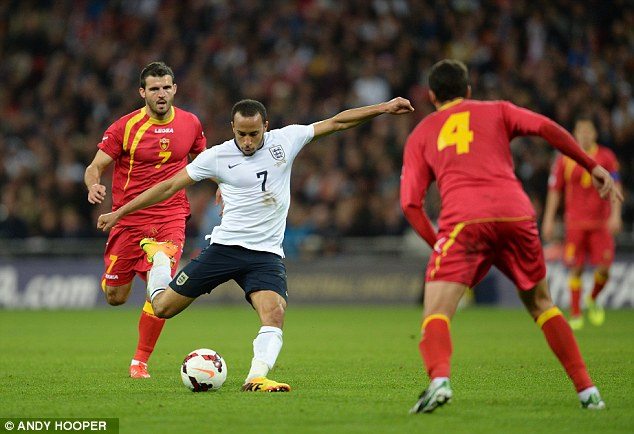 Instant impact: Tottenham winger Andros Townsend burst onto the international scene with a Man of the Match performance against Montenegro