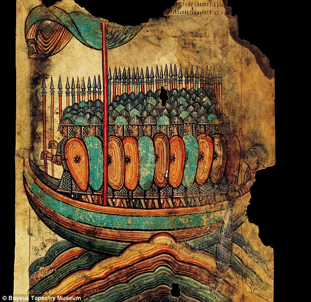 Terrifying sight: A period drawing depicting a shipload of Viking warriors heading out to sea in a longship